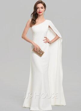 Sheath/Column One-Shoulder Floor-Length Stretch Crepe Evening Dress (017137379)