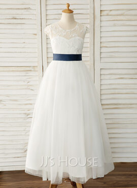 A-Line Floor-length Flower Girl Dress - Satin/Tulle/Lace Sleeveless Scoop Neck With Sash (Detachable sash) (010183559)