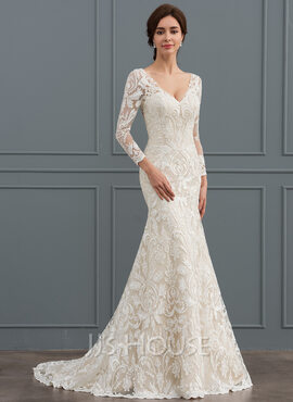 Trumpet/Mermaid V-neck Sweep Train Lace Wedding Dress (002127261)