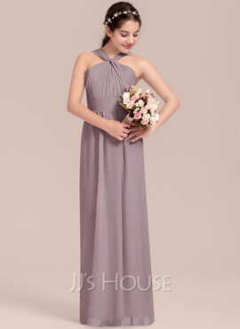 A-Line V-neck Floor-Length Chiffon Junior Bridesmaid Dress With Ruffle (009130649)