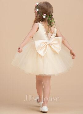 A-Line Knee-length Flower Girl Dress - Satin/Tulle Sleeveless Scoop Neck With Beading (010211903)