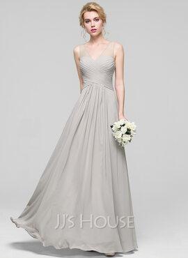 A-Line V-neck Floor-Length Chiffon Bridesmaid Dress With Ruffle (007090204)