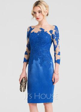 Sheath/Column Scoop Neck Knee-Length Satin Cocktail Dress (016150452)
