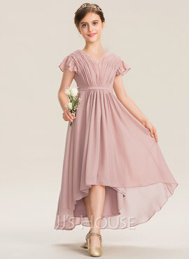 A-Line V-neck Asymmetrical Chiffon Junior Bridesmaid Dress With Bow(s) Cascading Ruffles (009173282)