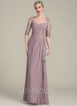A-Line Sweetheart Floor-Length Chiffon Lace Mother of the Bride Dress With Beading Sequins Cascading Ruffles (008102690)