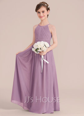 A-Line Scoop Neck Floor-Length Chiffon Junior Bridesmaid Dress With Ruffle (009130511)