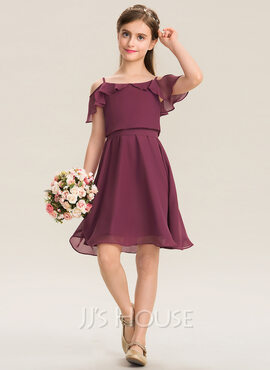 A-Line Off-the-Shoulder Knee-Length Chiffon Junior Bridesmaid Dress With Bow(s) Cascading Ruffles (009173277)