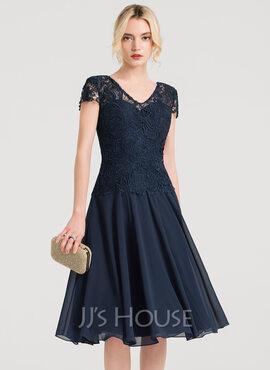 A-Line V-neck Knee-Length Chiffon Cocktail Dress (016150223)