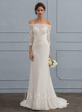 Trumpet/Mermaid Off-the-Shoulder Sweep Train Chiffon Wedding Dress (002121439)