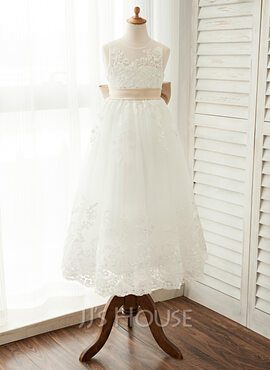 A-Line Scoop Neck Ankle-Length Tulle Junior Bridesmaid Dress With Sash Bow(s) (009126280)