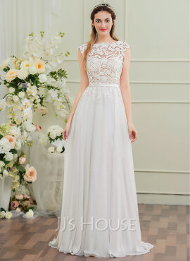 A-Line/Princess Scoop Neck Sweep Train Chiffon Wedding Dress With Bow(s) (002107557)
