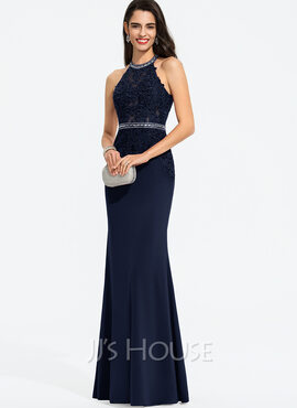 Sheath/Column Scoop Neck Floor-Length Jersey Prom Dresses With Beading Sequins (018187185)