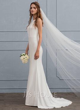 Trumpet/Mermaid Scoop Neck Sweep Train Jersey Wedding Dress (002119800)