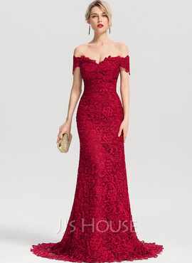 Trumpet/Mermaid Off-the-Shoulder Sweep Train Lace Evening Dress (017153638)