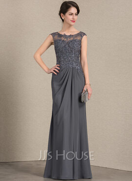A-Line Scoop Neck Floor-Length Chiffon Lace Mother of the Bride Dress With Ruffle (008143349)