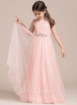 A-Line/Princess Floor-length Flower Girl Dress - Tulle Sleeveless V-neck With Ruffles/Beading/Sequins (010113815)