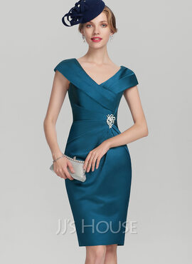Sheath/Column V-neck Knee-Length Satin Cocktail Dress With Ruffle Beading (016174146)