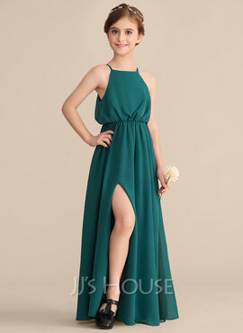 A-Line Square Neckline Floor-Length Chiffon Junior Bridesmaid Dress With Split Front (009165037)