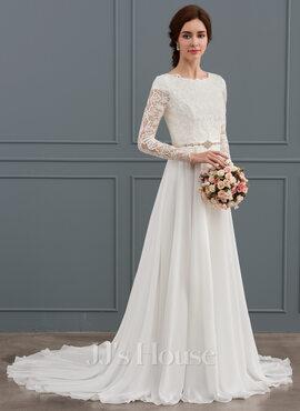A-Line/Princess Scoop Neck Court Train Chiffon Wedding Dress With Beading (002127253)