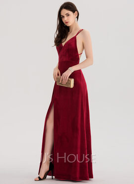 A-Line V-neck Floor-Length Velvet Prom Dresses With Split Front (018138337)