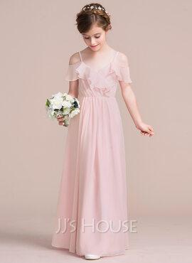 A-Line V-neck Floor-Length Chiffon Junior Bridesmaid Dress With Cascading Ruffles (009095086)