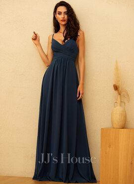 A-Line V-neck Floor-Length Chiffon Bridesmaid Dress With Ruffle (007206464)