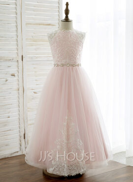 A-Line/Princess Ankle-length Flower Girl Dress - Tulle/Lace Sleeveless Scoop Neck With Rhinestone (010164733)