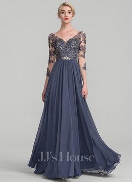 A-Line V-neck Floor-Length Chiffon Lace Evening Dress (017131491)