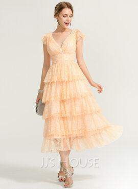 A-Line V-neck Tea-Length Lace Cocktail Dress (016170838)
