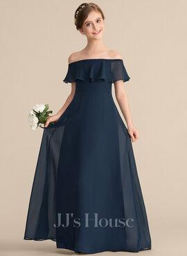 A-Line Off-the-Shoulder Floor-Length Chiffon Junior Bridesmaid Dress With Cascading Ruffles (009165021)