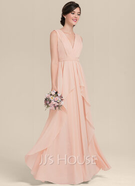A-Line V-neck Floor-Length Chiffon Bridesmaid Dress With Cascading Ruffles (007126457)