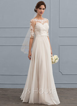 A-Line Illusion Floor-Length Chiffon Wedding Dress With Beading Sequins Bow(s) (002119791)