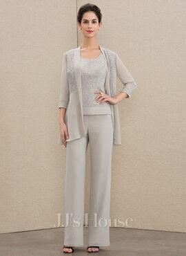 Jumpsuit/Pantsuit Scoop Neck Floor-Length Chiffon Lace Mother of the Bride Dress (008179194)