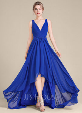 A-Line V-neck Asymmetrical Chiffon Bridesmaid Dress (007105582)
