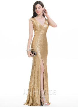 Trumpet/Mermaid V-neck Floor-Length Sequined Evening Dress With Split Front (017105906)