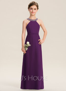 A-Line Scoop Neck Floor-Length Chiffon Junior Bridesmaid Dress With Beading Bow(s) (009173280)