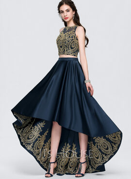 A-Line Scoop Neck Asymmetrical Satin Prom Dresses (018146369)
