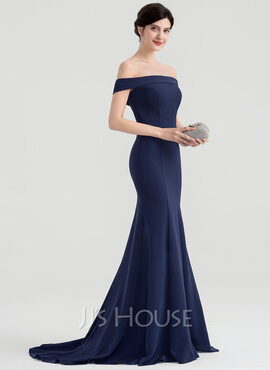 Trumpet/Mermaid Off-the-Shoulder Sweep Train Stretch Crepe Evening Dress (017153630)