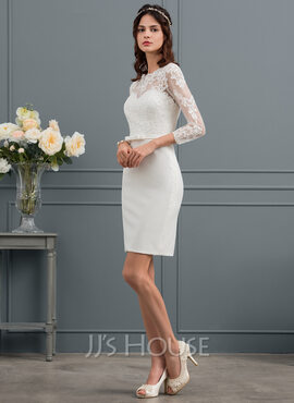 Sheath/Column Illusion Knee-Length Stretch Crepe Wedding Dress With Sequins Bow(s) (002153437)
