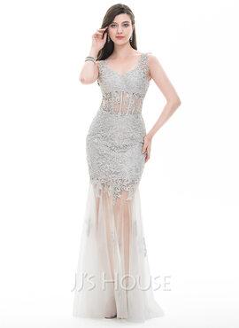 Sheath/Column V-neck Floor-Length Tulle Prom Dresses (018105690)