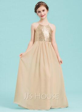 A-Line Scoop Neck Floor-Length Chiffon Junior Bridesmaid Dress (009148399)
