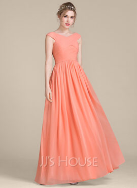 A-Line V-neck Floor-Length Chiffon Bridesmaid Dress With Ruffle (007104711)