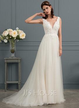 A-Line V-neck Sweep Train Tulle Wedding Dress (002145284)