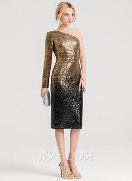 Sheath/Column One-Shoulder Knee-Length Sequined Cocktail Dress (016150184)