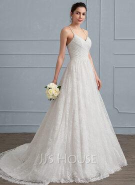 A-Line/Princess Sweetheart Sweep Train Lace Wedding Dress With Ruffle (002111951)
