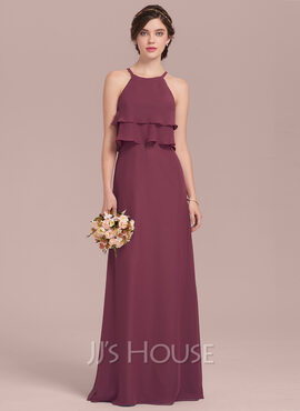 A-Line/Princess Scoop Neck Floor-Length Chiffon Bridesmaid Dress With Cascading Ruffles (007126451)