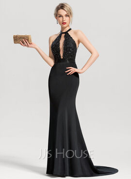 Trumpet/Mermaid Scoop Neck Sweep Train Jersey Evening Dress With Beading Sequins (017153616)