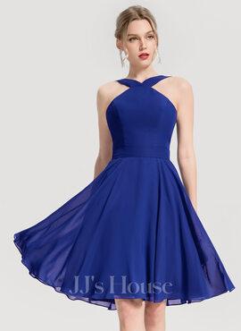 A-Line V-neck Knee-Length Chiffon Cocktail Dress (016154213)