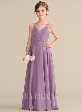 A-Line V-neck Floor-Length Chiffon Junior Bridesmaid Dress With Cascading Ruffles (009165028)