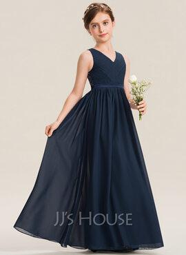 A-Line V-neck Floor-Length Chiffon Lace Junior Bridesmaid Dress With Ruffle (009173292)
